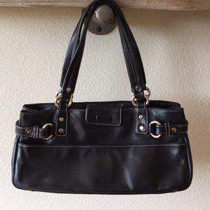 Perlina black leather purse